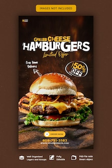 Pyszny burger i menu z jedzeniem szablon historii na instagramie i facebooku