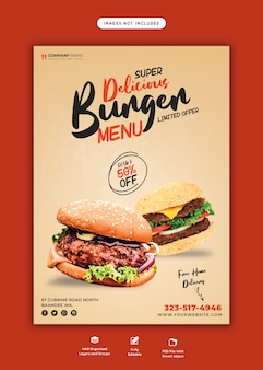 Pyszny burger i szablon ulotki menu żywności