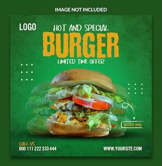 Pyszny burger szablon projektu postów w mediach społecznościowych