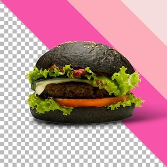Pyszny i soczysty czarny burger z dużym kotletem mięsnym na przezroczystym tle