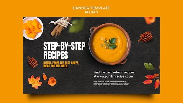 Pyszny jesienny szablon transparentu z jedzeniem