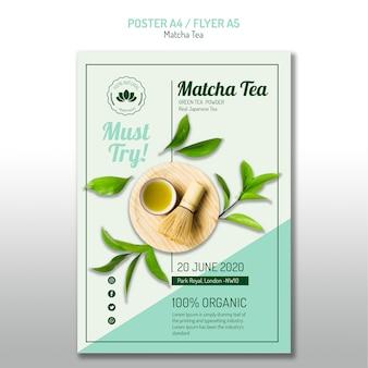 Pyszny plakat z herbatą matcha
