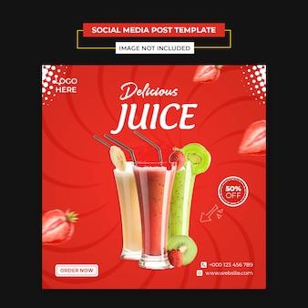 Pyszny sok w mediach społecznościowych i szablon postu na instagramie