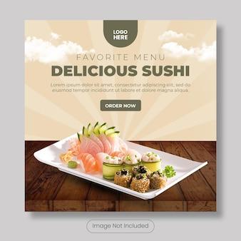 Pyszny szablon banera postu na instagram sushi