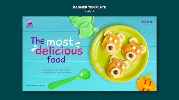 Pyszny szablon banera z jedzeniem dla dzieci