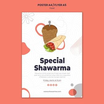 Pyszny szablon ulotki shawarma