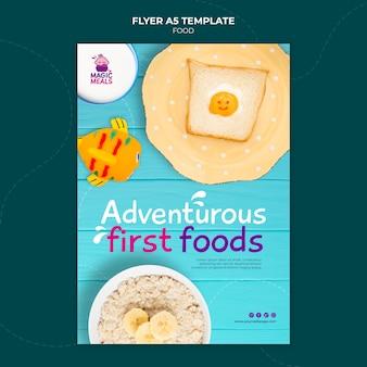 Pyszny szablon ulotki z jedzeniem dla dzieci