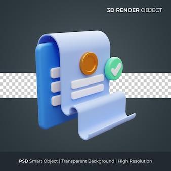 Rachunek papierowy raport ikona 3d render ilustracja na białym tle premium psd