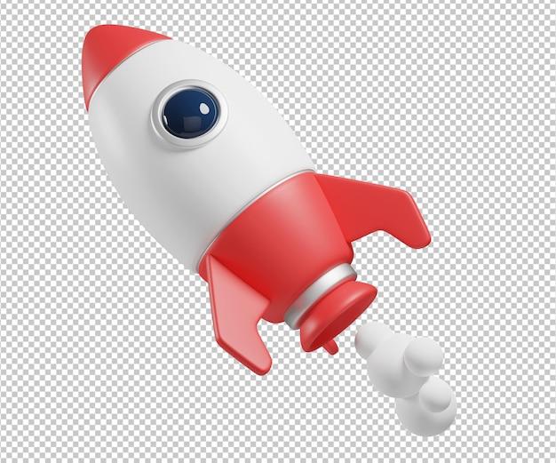 Rakieta 3d ilustracja projekt renderowania na białym tle