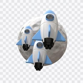 Rakieta kosmiczna z księżycem w renderowaniu 3d na białym tle