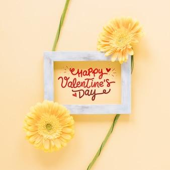 Rama makieta z kwiatów Walentynki koncepcja