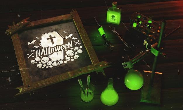 Rama o wysokim kącie na halloween z zielonym światłem