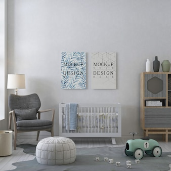Rama plakatowa makieta w białym pastelowym pokoju dziecięcym
