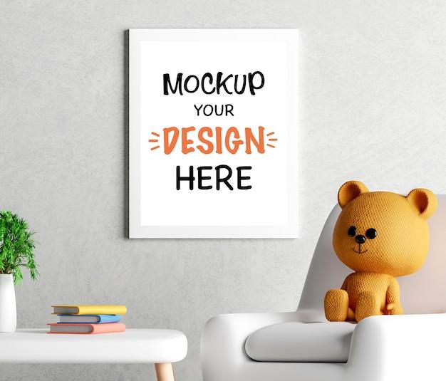 Rama plakatowa makieta z uroczym misiem na baby shower renderowania 3d
