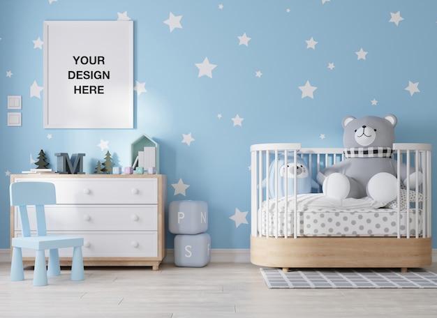 Rama plakatu makieta w renderowaniu 3d pokoju dziecięcego