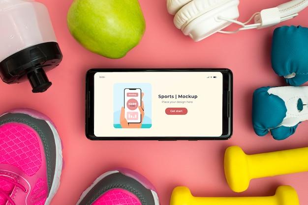 Rama sprzętu sportowego z telefonem komórkowym