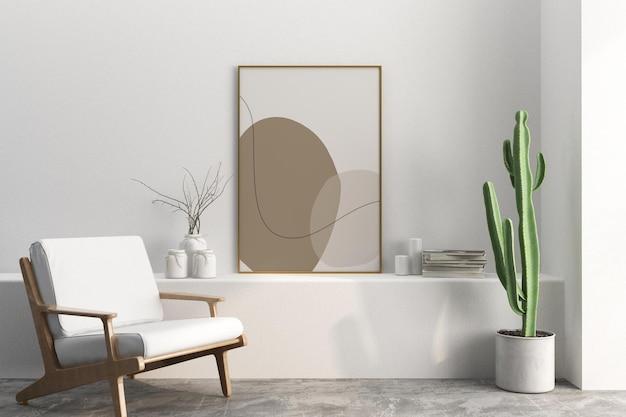 Rama wnętrza salonu i projekt makiety kaktusa w 3d