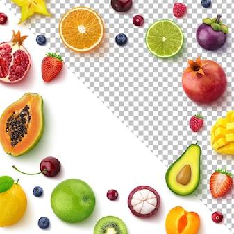 Rama wykonana z owoców i jagód widok z góry