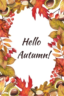 Rama z jesiennych liści malowane akwarelą