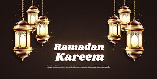 Ramadan kareem 3d szablon efektu stylu tekstu z latarnią
