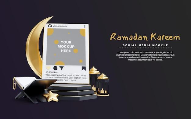 Ramadan kareem dla religii islamskiej z makietą postów w mediach społecznościowych