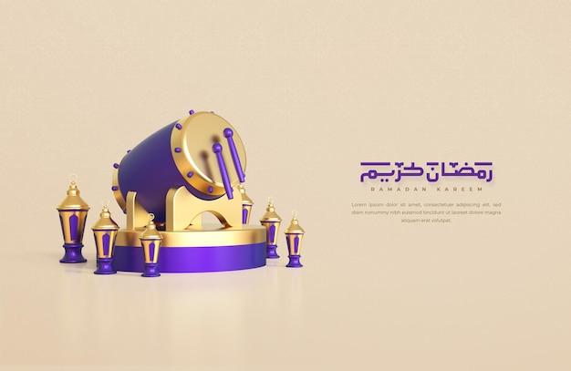 Ramadan kareem powitanie tło z realistycznymi 3d islamskimi świątecznymi elementami dekoracyjnymi