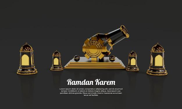 Ramadan karem jest ozdobiony szablonem czarnych świateł
