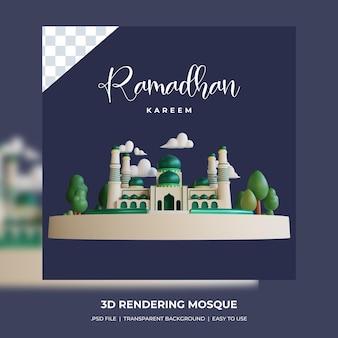 Ramadhan kareem 3d renderowania projekt budynku meczetu