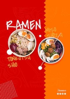 Ramen przepis na azjatycką orientalną japońską restaurację lub sushibar