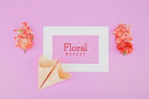 Ramka makiety kwiatowy widok z góry