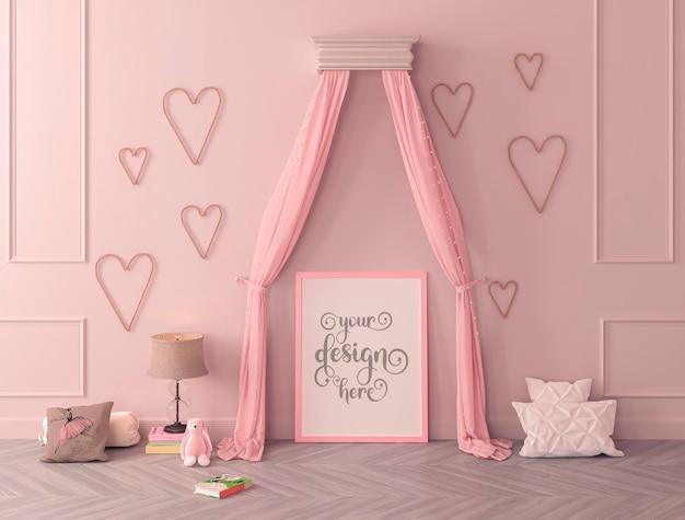 Ramka na plakat makiety w klasycznym wnętrzu sypialni dziecięcej