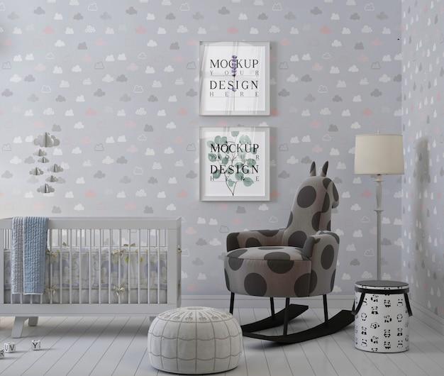 Ramka na plakat makiety w prostym pokoju dziecięcym