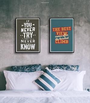 Ramka na plakat z makietą na ścianie