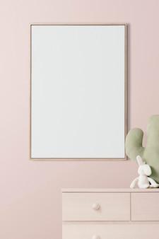 Ramka na zdjęcia makieta psd wisząca w pokoju dziecięcym wystrój domu