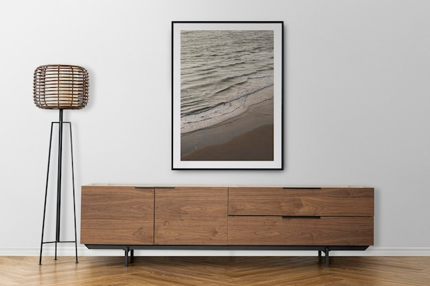 Ramka na zdjęcia makieta ścienna psd z szafką pod telewizor w skandynawskim wystroju salonu