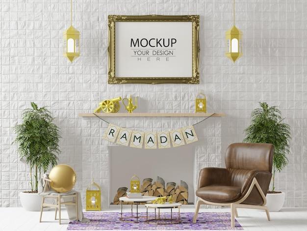Ramka plakatowa makieta z dekoracją wnętrza salonu