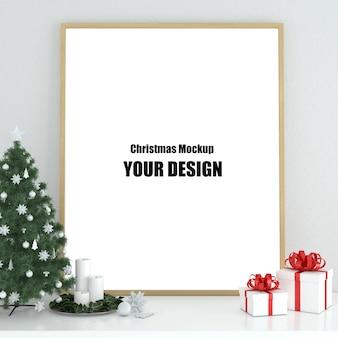 Ramka plakatowa makiety we wnętrzu skandynawska dekoracja świąteczna i zimowa