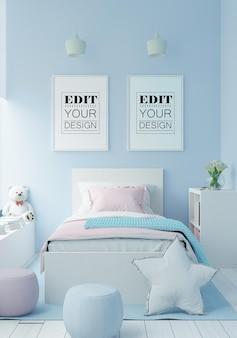 Ramka plakatowa w makiecie sypialni dziecięcej