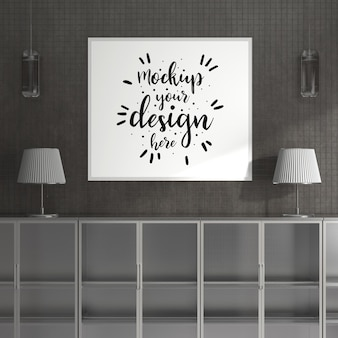 Ramka plakatowa w salonie makieta psd