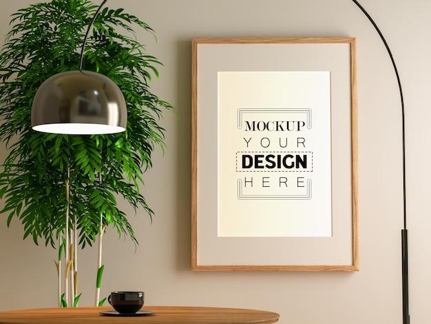 Ramka plakatowa w salonie makieta