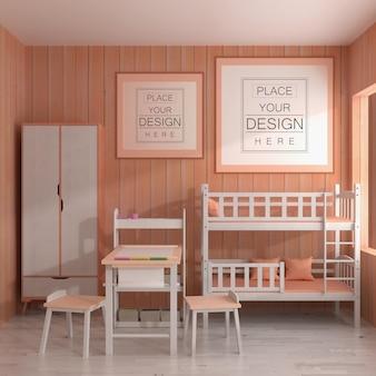 Ramka plakatowa w sypialni dziecięcej makieta psd