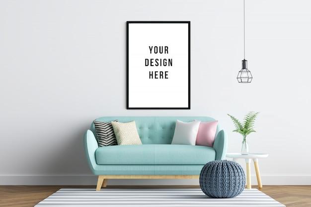 Ramka plakatowa wnętrze makiety z sofą i dekoracją