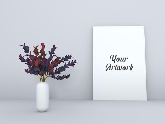 Ramka Plakatowa Z Makietą Wazonu Na Kwiaty Premium Psd