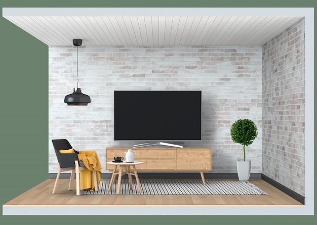 Ramka telewizyjna makieta wnętrze nowoczesny salon z inteligentnym telewizorem