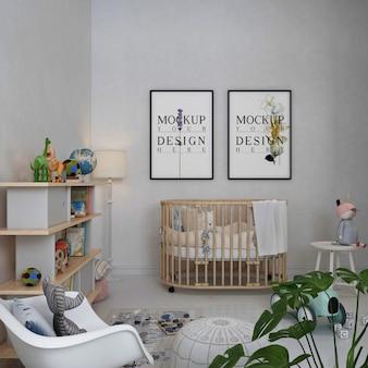 Ramki do plakatów makietowych w prostym, monochromatycznym pokoju dziecięcym