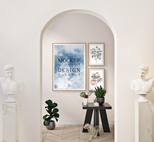 Ramki makiet w nowoczesnym klasycznym wnętrzu z dekoracjami