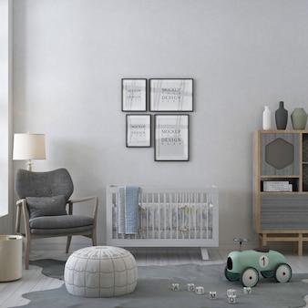 Ramki plakatowe makiety w białym pokoju dziecięcym