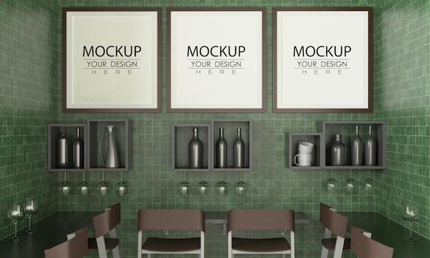 Ramki plakatowe w makiecie restauracji