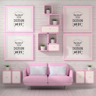 Ramki plakatowe w makiecie salonu