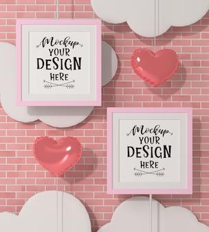 Ramki plakatowe w makiecie ściany z cegły